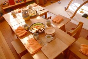 Gedeckter Tisch in der Villa Wiegestube
